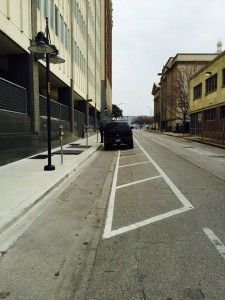 On Wood Street, a bike lane? Or ... not? (Courtesy Ben Reavis)
