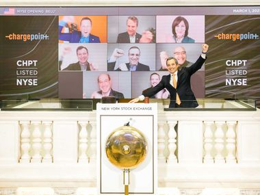The New York Stock Exchange welcomed ChargePoint on Monday, with CEO Pasquale Romano and other executives ringing a virtual opening bell. The bell ringer was NYSE vice president Chris Taylor.