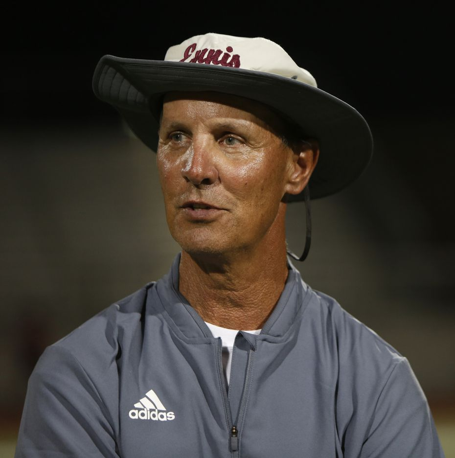 Ennis head football coach Sam Harrell is photographed following his team's scrimmage against Mansfield Legacy. Ennis Lions head football coach Sam Harrell is back at the helm after battling a life-threatening illness. expectations are high for the program he coached to 3 state titles in the early 2000's. Harrell was photographed during a team scrimmage in which Ennis traveled to Mansfield Legacy in Mansfield on August 24, 2018. (Steve Hamm/ Special Contributor)