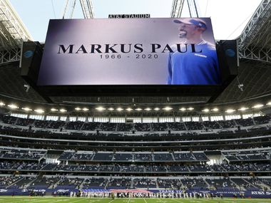 A moment of silence was held before the Washington Football Team game for Dallas Cowboys strength coach Markus Paul at AT&T Stadium in Arlington, Thursday, November 26, 2020. The Cowboys coach died unexpectedly this week.