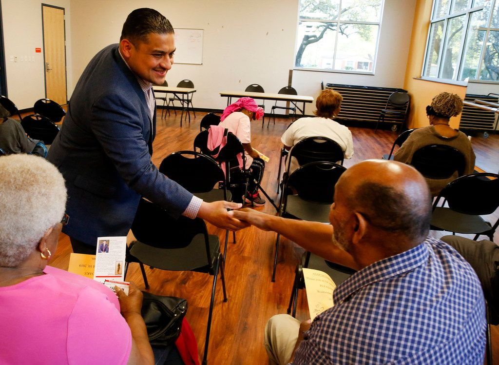Council candidate Jaime Resendez greeted voters during a candidate forum on April 4.