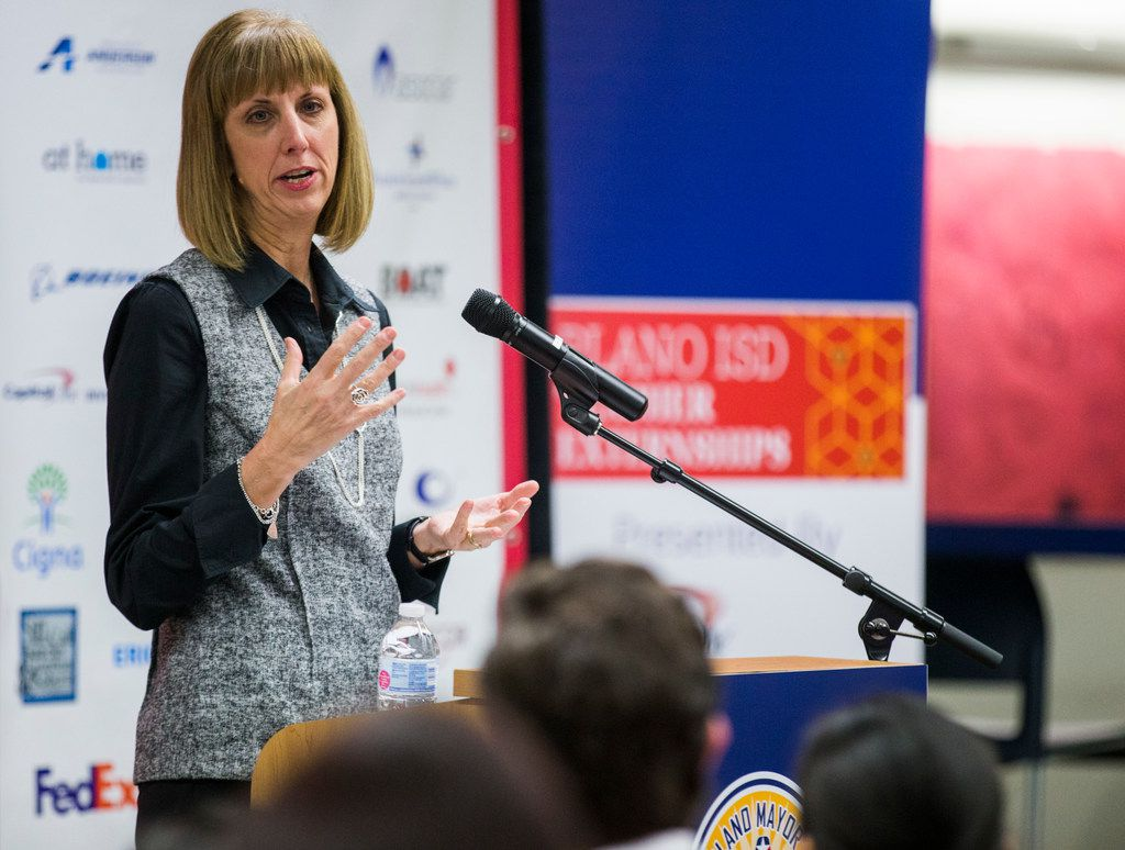 Plano ISD Interim Superintendent Sara Bonser speaks during a ceremony that kicked off the fifth annual Plano Mayor's Summer Internship Program on Thursday, February 22, 2018, at Plano ISD Academy High School in Plano, Texas. Bonser on Tuesday was named the lone finalist for superintendent.