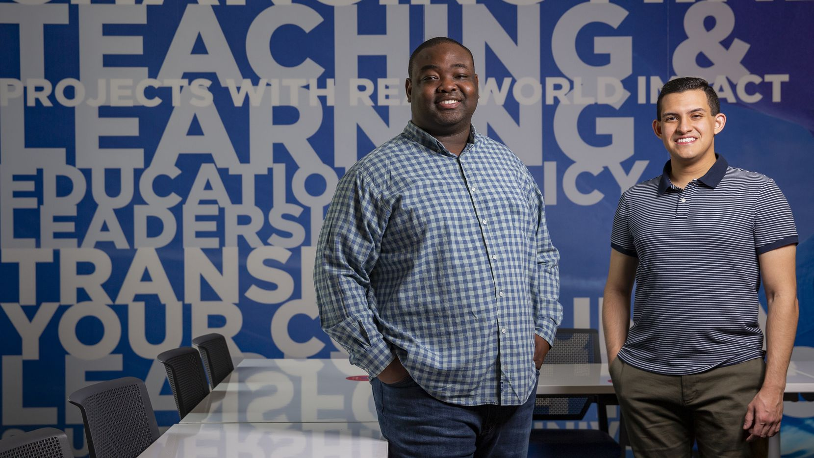 Greg Weatherford II (left) and Alex Quian who are the co-founders of Young Leaders for Change, pose for a photo on Monday at SMU in Dallas. Their new podcast, Mentor Moments, launched Tuesday, seeks to provide missing mentorship and advice due to cancelled internships for students.