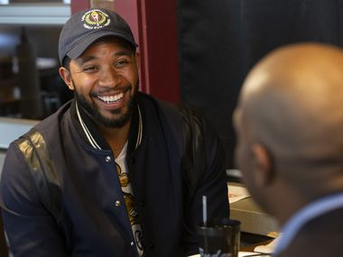 "Rangers shortstop Elvis Andrus (left) chats with former major leaguer Torii Hunter and Dallas Morning News reporter Evan Grant during a taping of ""Meat with the Press"" at Tender Smokehouse in Frisco on Thursday, Feb. 6, 2020."