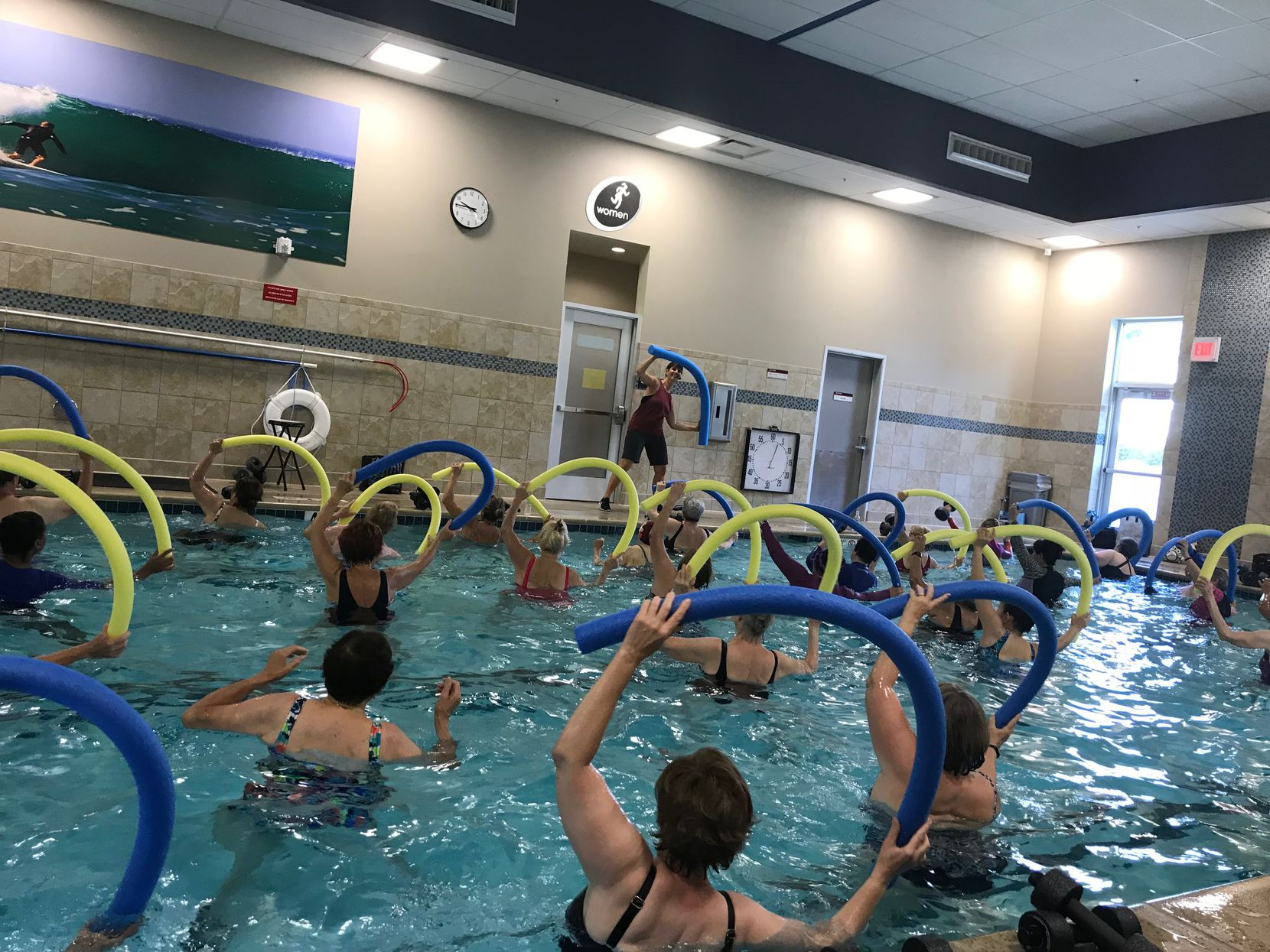Seniors took part in a pre-pandemic aqua aerobics class at 24 Hour Fitness.