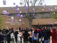 Seniors at Dallas Lincoln High School participate in a balloon release on Monday, April 12, 2021, as part of celebrations around their first day of in-person classes since the start of the COVID-19 pandemic.