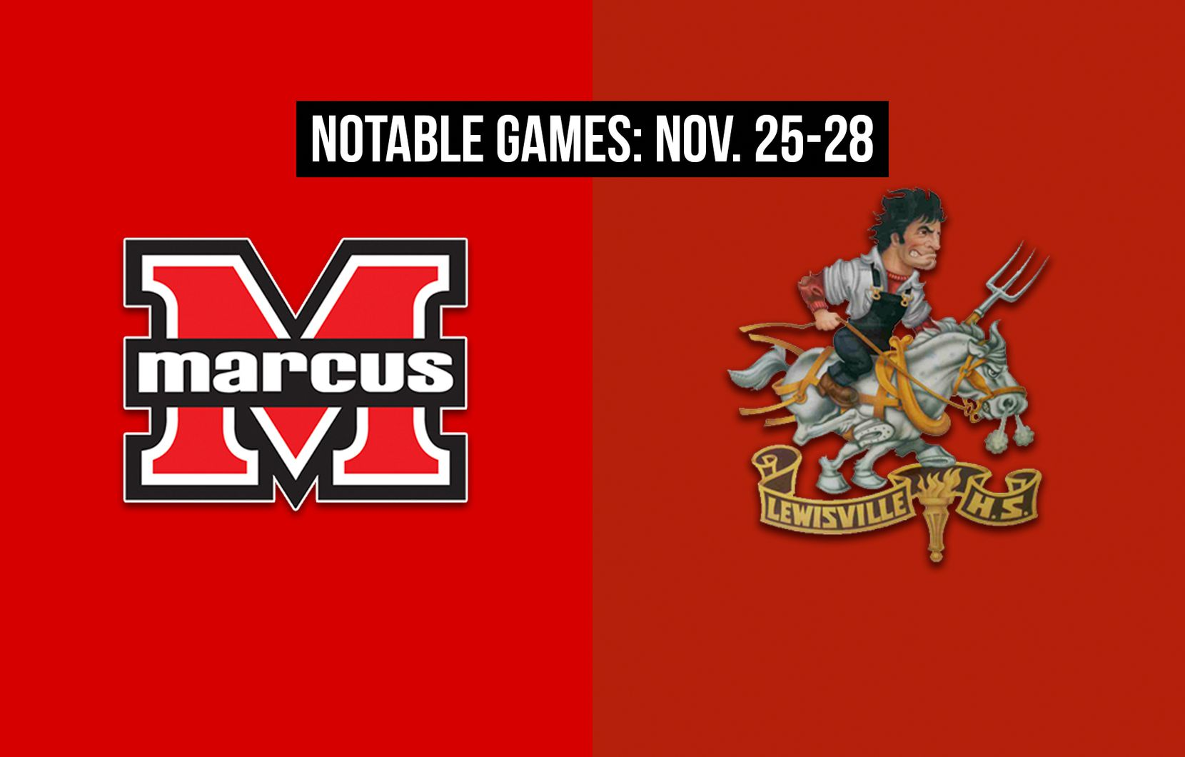 Notable games for the week of Nov. 25-28 of the 2020 season: Flower Mound Marcus vs. Lewisville.