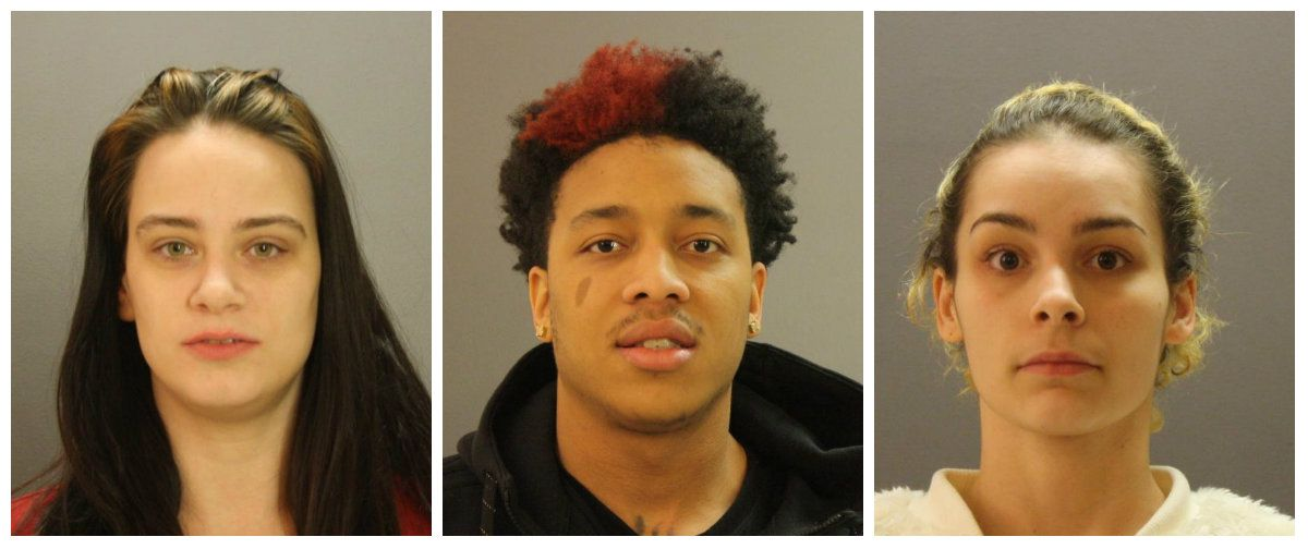 From left: Rachel Sophia Burden, Anthony Rashad George, Jessica Yasmyn Ontiveros (Dallas County Jail)