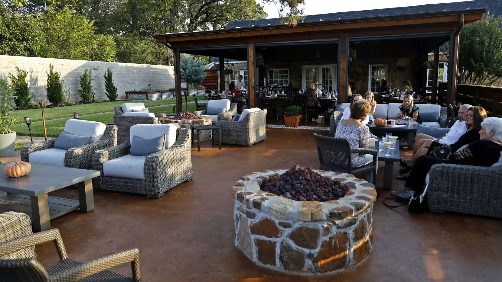 The patio area at the Stone House Restaurant in Colleyville.