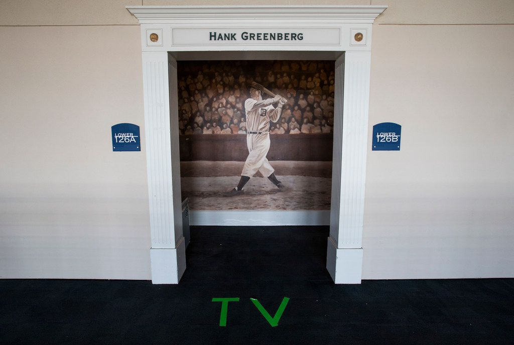 """A suite that has been converted to a TV booth is labeled """"TV"""" during an XFL game between the Dallas Renegades and the New York Guardians on Saturday, March 7, 2020 at Globe Life Park in Arlington. (Ashley Landis/The Dallas Morning News)"""