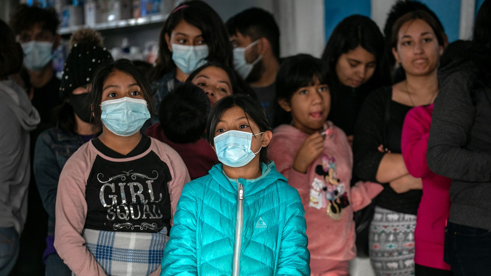 Asylum seekers at an immigrant shelter on March 16, 2021 in Ciudad Juarez, across the border from El Paso. A surge of immigrant families and as many as 13,000 unaccompanied minors now in U.S. custody is causing a humanitarian crisis at the U.S.-Mexico border.