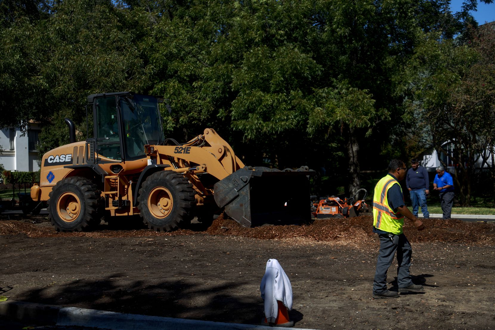 Construction workers remove the remainder of Highland Park's 150 year-old pecan tree on Wednesday, Oct. 23, 2019. By the end of the day, all that was left was a mound of dirt.