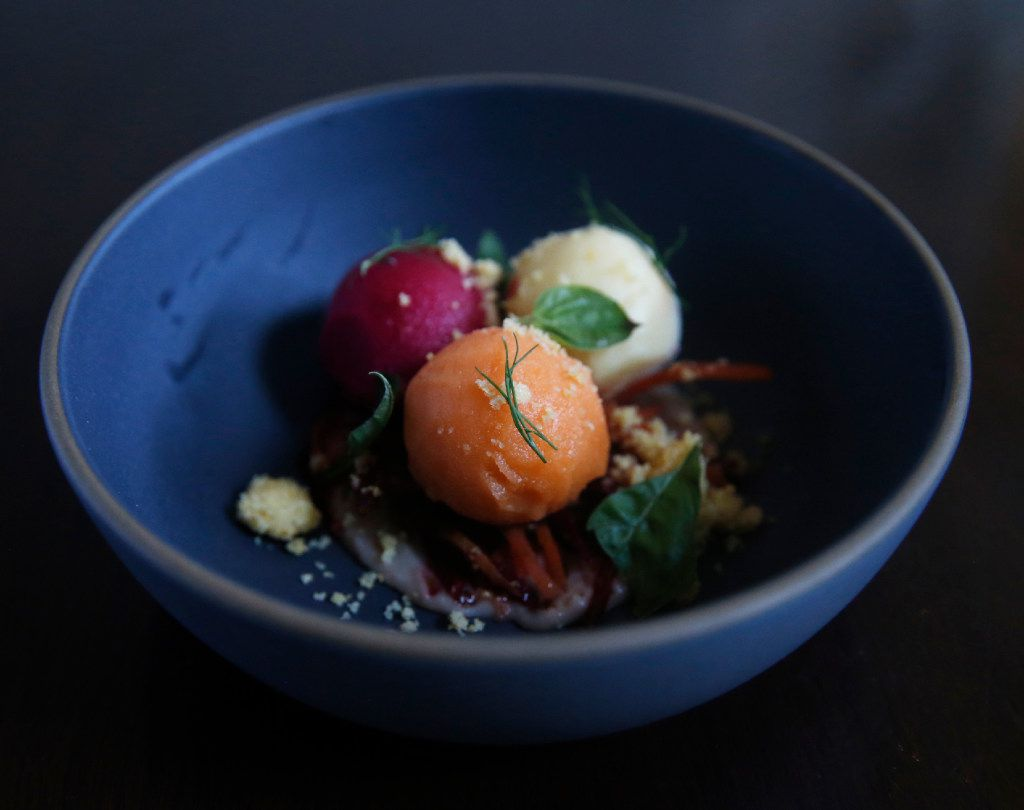 """""""Eat your vegetables"""": beet, carrot and corn sorbets (Tailyr Irvine/The Dallas Morning News)"""