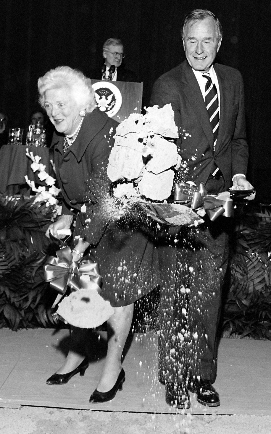 1994: Former President George Bush and first lady Barbara Bush take part in the groundbreaking ceremony launching construction of the George Bush Presidential Library Center at Texas A&M University in College Station, Texas.