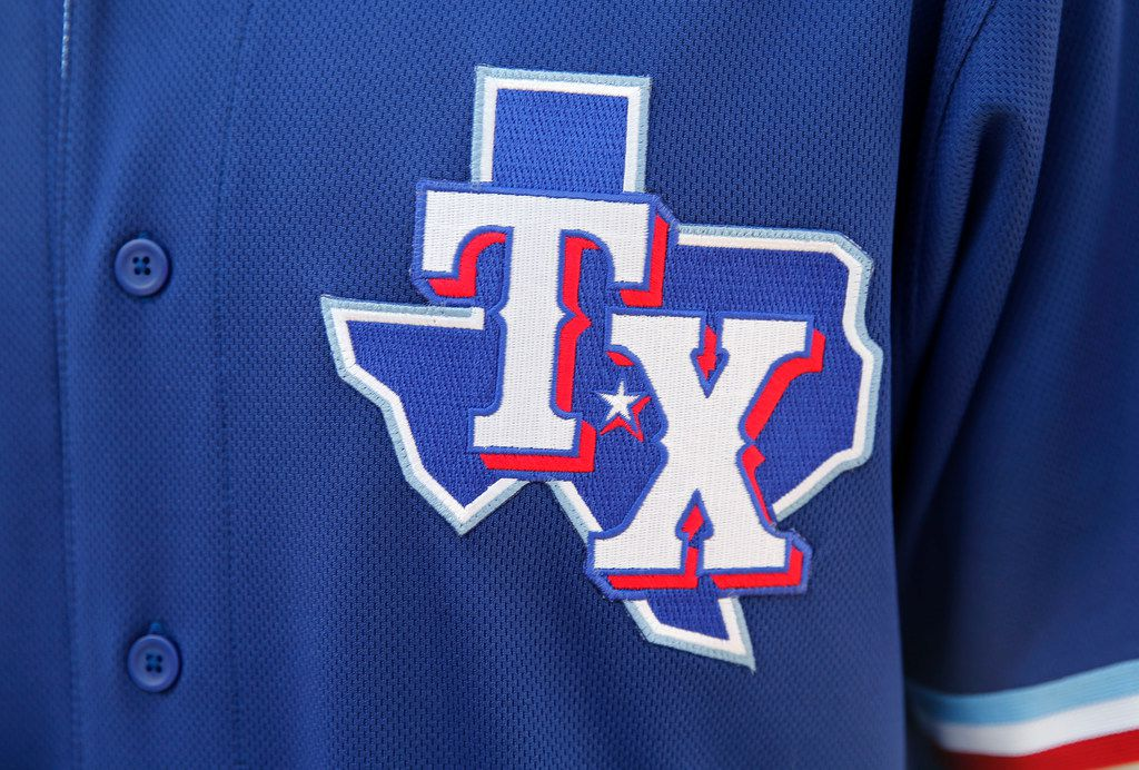 Detail of the Texas Rangers spring training jersey on display during the unveiling of the 2020 uniforms at Live! next to Globe Life Field in Arlington, Texas on Wednesday, December 4, 2019. (Vernon Bryant/The Dallas Morning News)