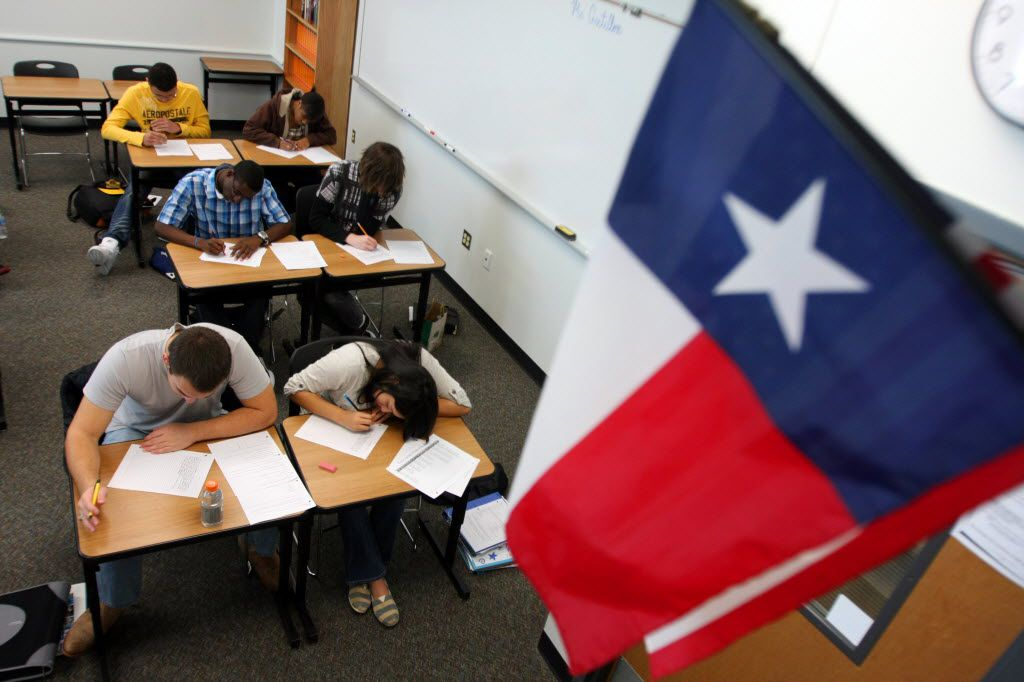 Students work on a practice English test in Frisco. (File Photo/Staff)