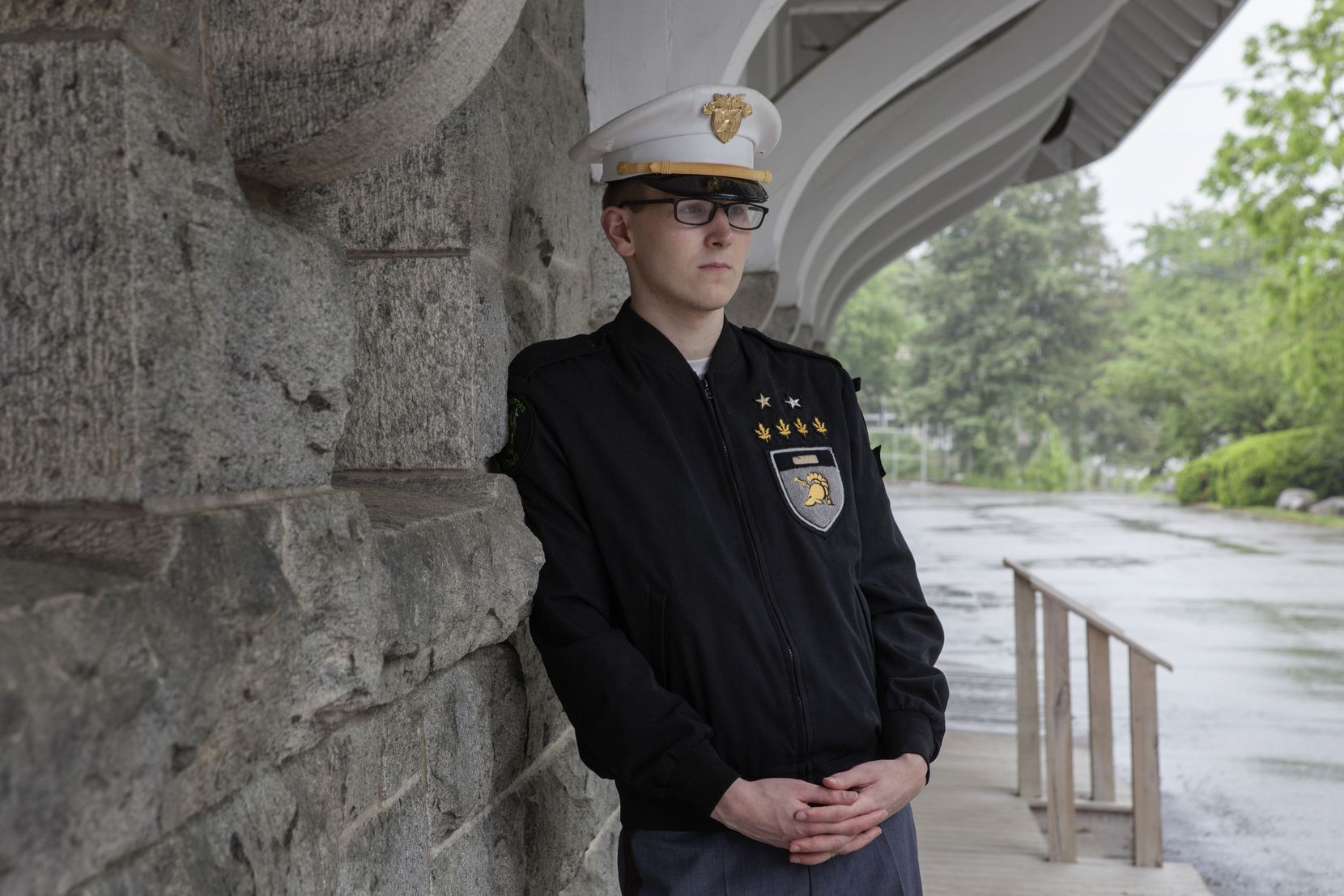 """Riley Dosh, a West Point military academy student, who said she came out to herself as transgender in April of last year, is shown in Garrison, N.Y., on May 25, 2017. President Donald Trump's announcement on Twitter that transgender people would be barred from the U.S.  military """"in any capacity"""" marked a sudden reversal of a policy that had evolved rapidly under the Obama Administration."""
