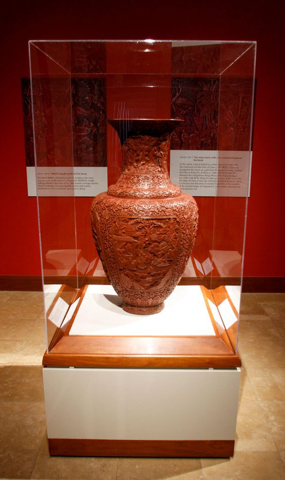 A lacquer vase with motif of Confucius' Miracles from the Qing Dynasty (1644-1911) of China at the Crow Museum of Asian Art in Dallas on Wednesday, September 26, 2018. (Brian Elledge/The Dallas Morning News)