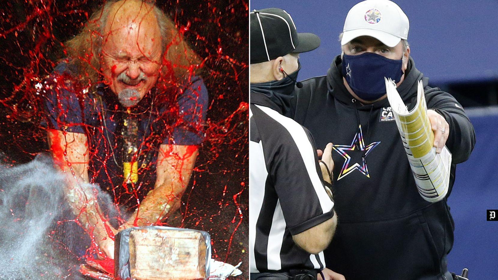 El comediante Gallagher (izq) en uno de sus actos destruyendo sandías, la rutina fue copiada por el entrenador en jefe de los Dallas Cowboys, Mike McCarthy.