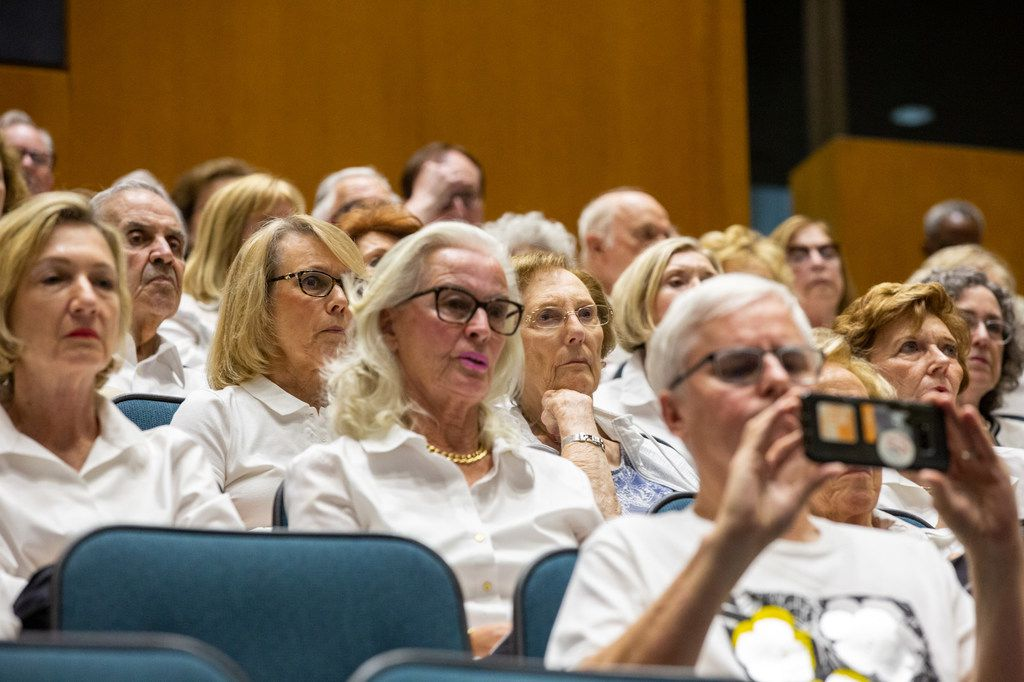 Opponents of Planned Development 15 wear white while attending the city council meeting on Wednesday, Sep. 11, 2019, at Dallas City Hall. City council voted in favor of a controversial zoning plan that will allow high-rise residences in the affluent Preston Hollow neighborhood, where a sizable opposition has fought such development for years.