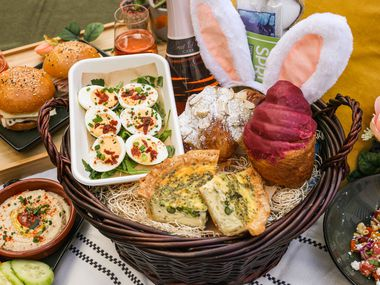 How about a breakfast or brunch in your Easter basket? Rise + Thyme will pack up a picnic for your party of four to six to munch on outdoors or to take home before the egg hunt begins.