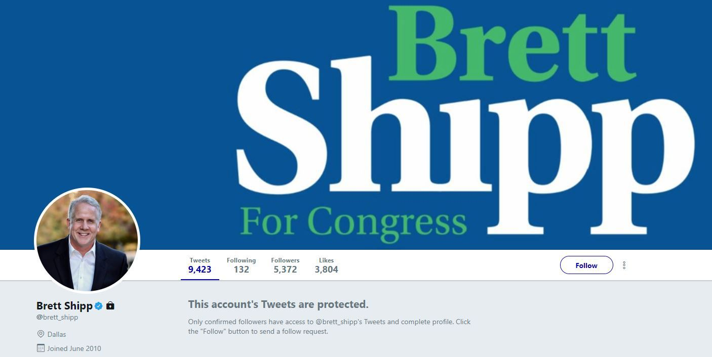 "Shipp posted a ""Brett Shipp for Congress"" image on his Twitter page Wednesday but locked his tweets from being viewed."