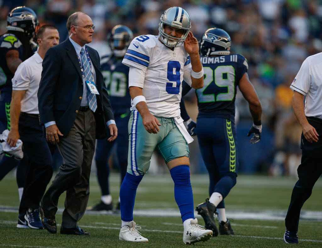 SEATTLE, WA - AUGUST 25:  Quarterback Tony Romo #9 of the Dallas Cowboys leaves the field after being injured in the first quarter during a preseason game against the Seattle Seahawks at CenturyLink Field on August 25, 2016 in Seattle, Washington.  (Photo by Otto Greule Jr/Getty Images)