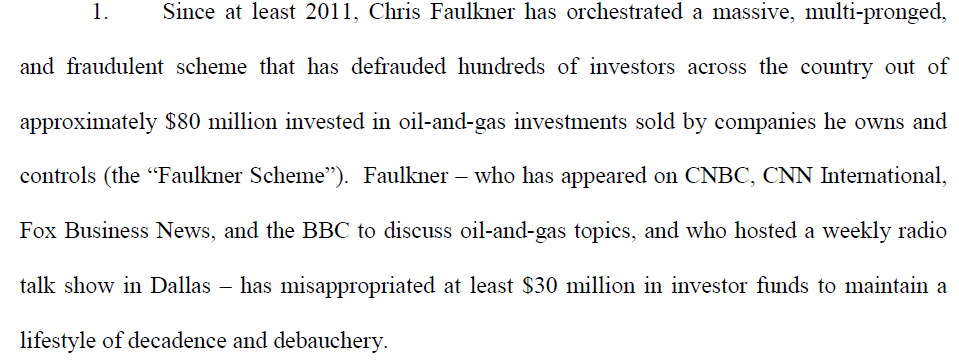 Section of federal civil complaint against Faulkner, his associates and his companies.