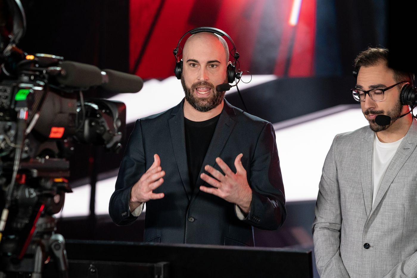 """From left, Caster Clint """"Maven"""" Evans gives the play by play and commentary with Joe """"MerK"""" Deluca during the championship match of the Call of Duty league playoffs at the Galen Center on Sunday, August 22, 2021 in Los Angeles, California. The Atlanta FaZe faced off against the Toronto Ultra for the championship title. (Justin L. Stewart/Special Contributor)"""