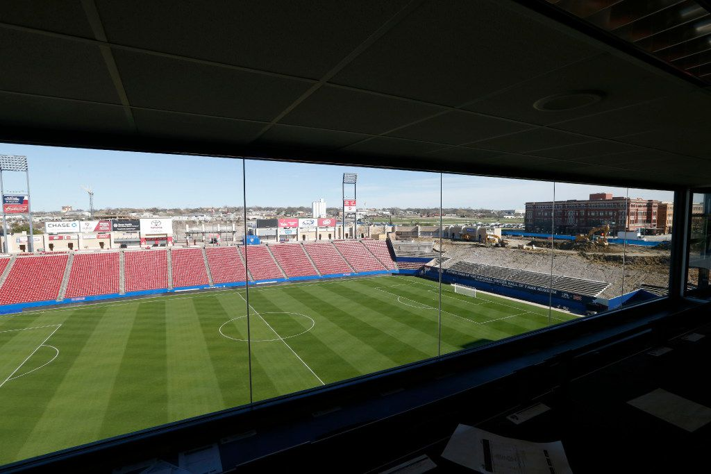 New glass windows were installed in the press box at Toyota Stadium in Frisco on Thursday.