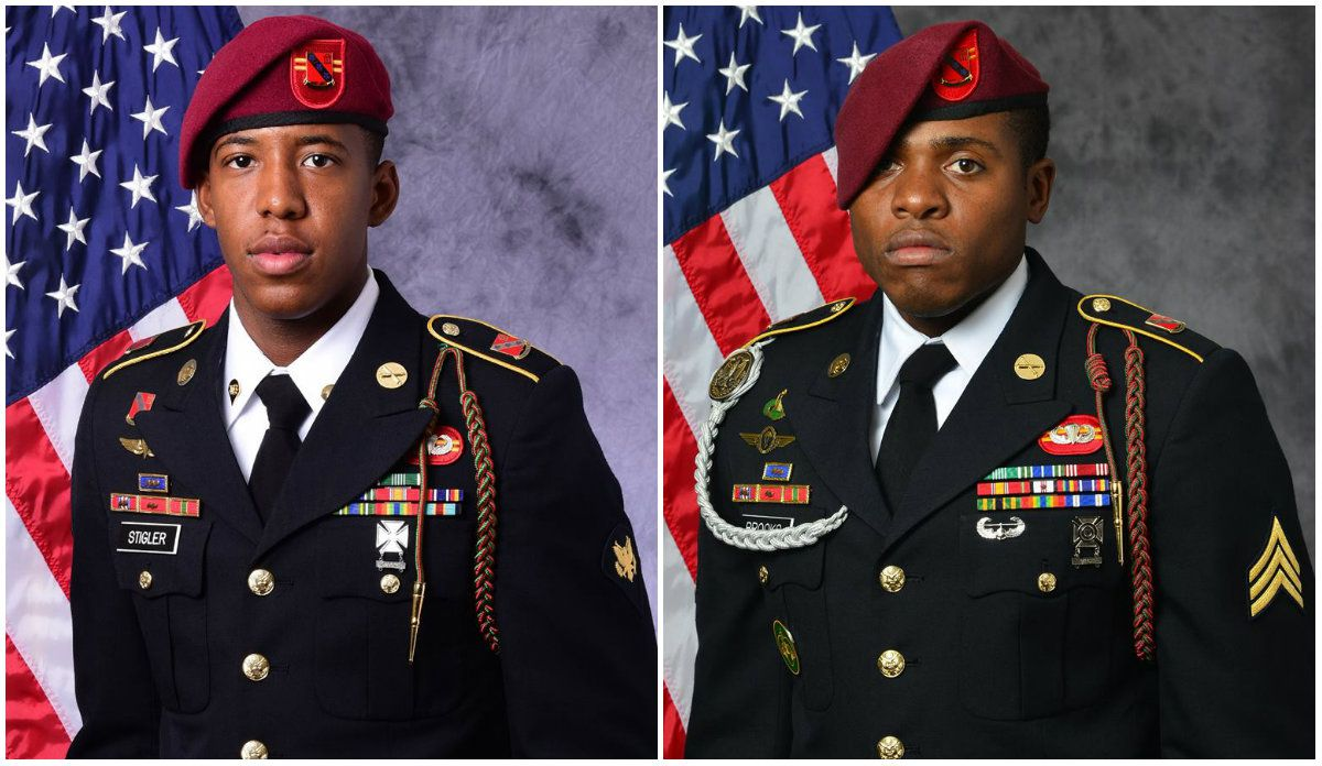 Spc. Allen Levi Stigler Jr., of Arlington, left, and Sgt. Roshain Euvince Brooks, of Brooklyn, were killed Sunday supporting Operation Inherent Resolve.