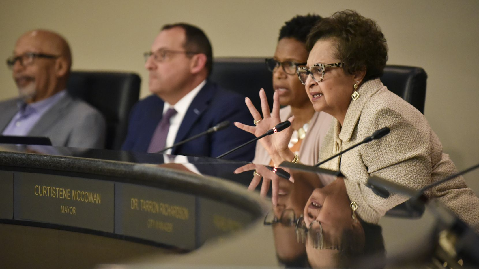 DeSoto Mayor Curtistene Smith McCowan, shown during a 2019 council meeting, announced that she is being treated for lung cancer.