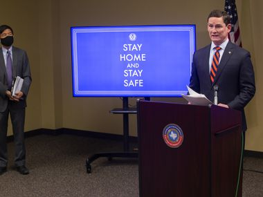 Dallas County Judge Clay Jenkins speaks at a press conference about coronavirus case in Dallas on Nov. 12, 2020. Dallas County on Wednesday reported 1,304 more coronavirus cases. (Juan Figueroa/ The Dallas Morning News)