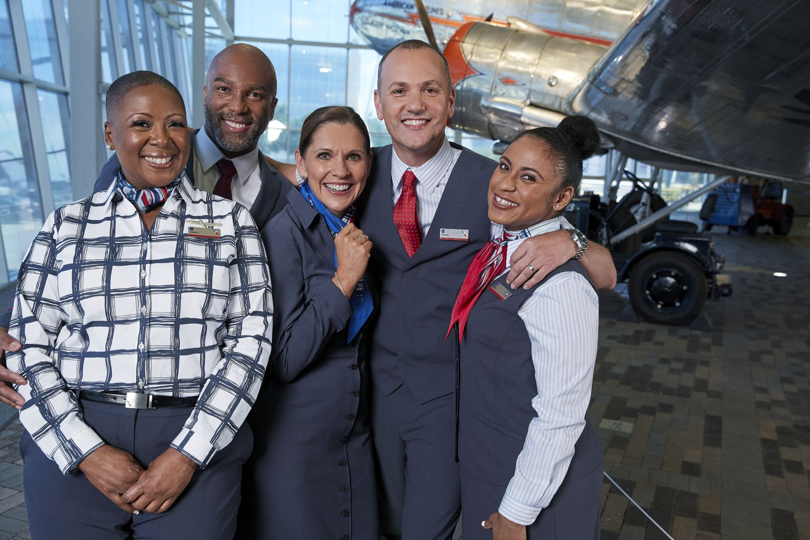 American Airlines employees wearing their new uniforms from Lands' End, which they will start wearing on March 2, 2020.