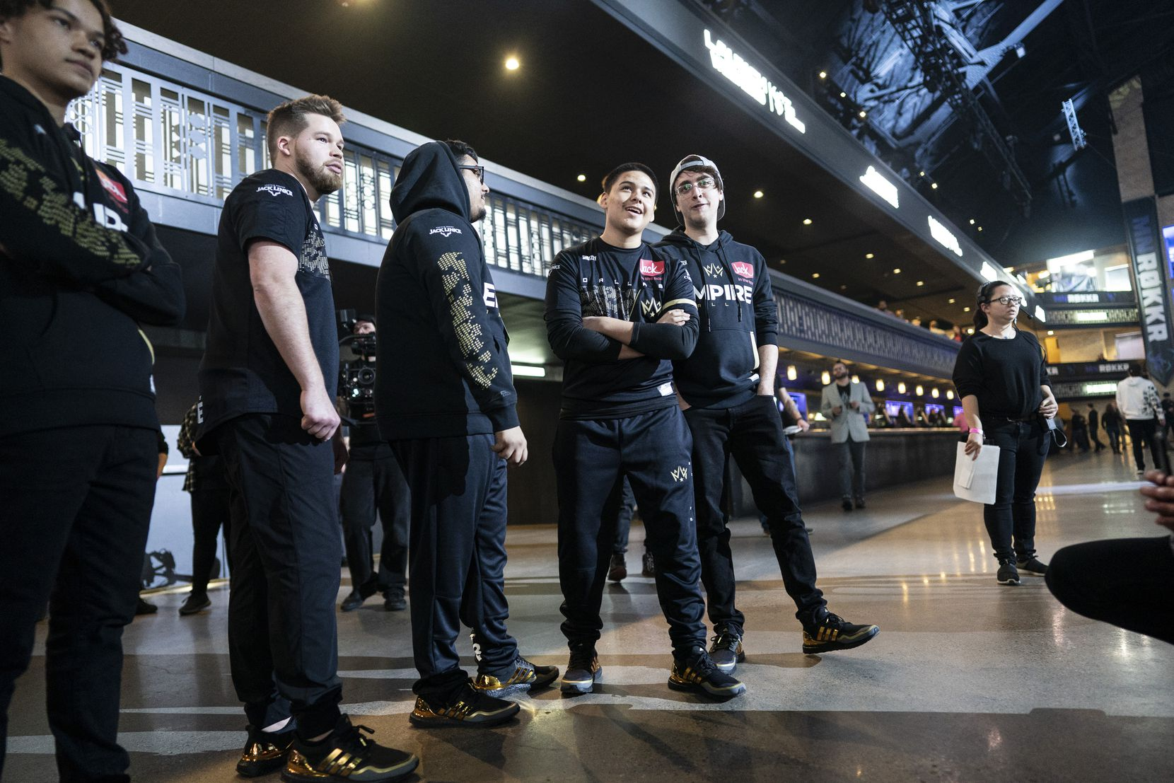The Dallas Empire team waits to compete against the Chicago Huntsmen in the Call of Duty League Launch Weekend at the Armory in Minneapolis, Minn., January 24, 2020.