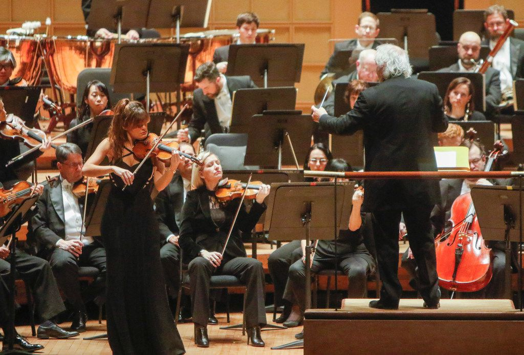 Violin soloist Nicola Benedetti, guest conductor Donald Runnicles and violin soloist Nicola Benedetti join the Dallas Symphony Orchestra for Beethoven Concert in D major for Violin and Orchestra, Op. 61 Thursday January 18, 2018. The concert was held at the Meyerson Symphony Center.