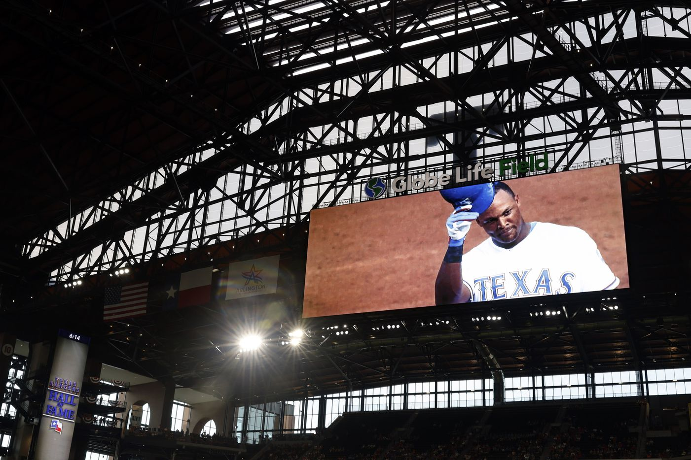 A tribute video plays of former Texas Rangers third basemen Adrian Beltre during the Texas Rangers Baseball Hall of Fame induction ceremony at Globe Life Field in Arlington, Saturday, August 14, 2021.(Tom Fox/The Dallas Morning News)