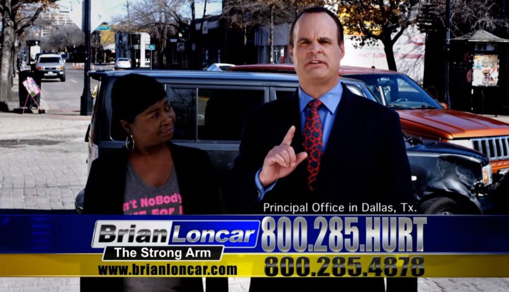 "Attorney Brian Loncar, a.k.a. ""The Strong Arm,"" advertised his legal services on TV. (YouTube)"