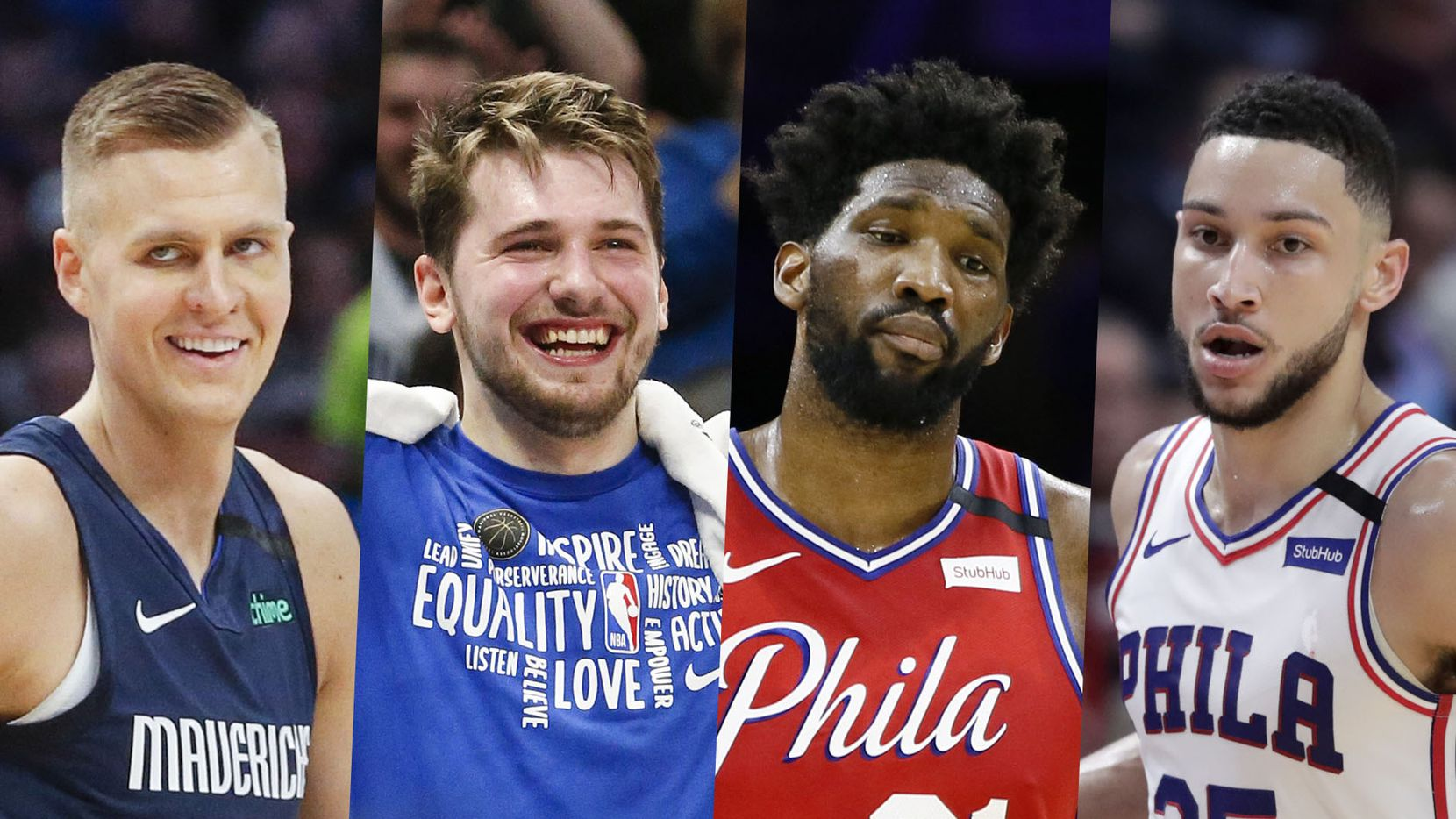 From left to right: Kristaps Porzingis, Luka Doncic, Joel Embiid, Ben Simmons.
