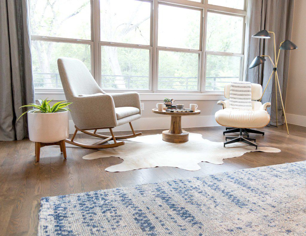 Tara Lenney infuses Texas into a design with a cowhide rug.