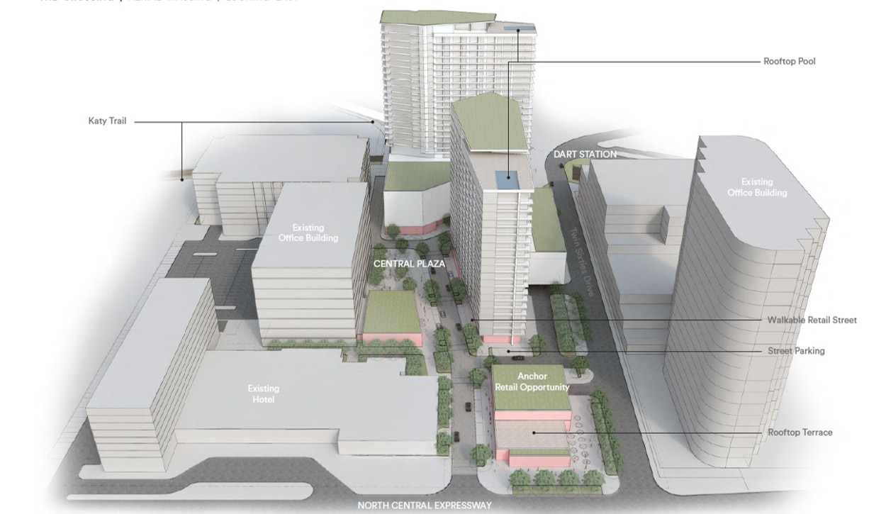 Called The Crossing, the mixed-use project is adjacent to the Twin Sixties office tower and Magnolia Hotel.