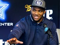 Dallas Cowboys first-round draft pick Micah Parsons answers a question during a press conference introducing the linebacker from Penn State at The Star on Friday, April 30, 2021, in Frisco. (Smiley N. Pool/The Dallas Morning News)