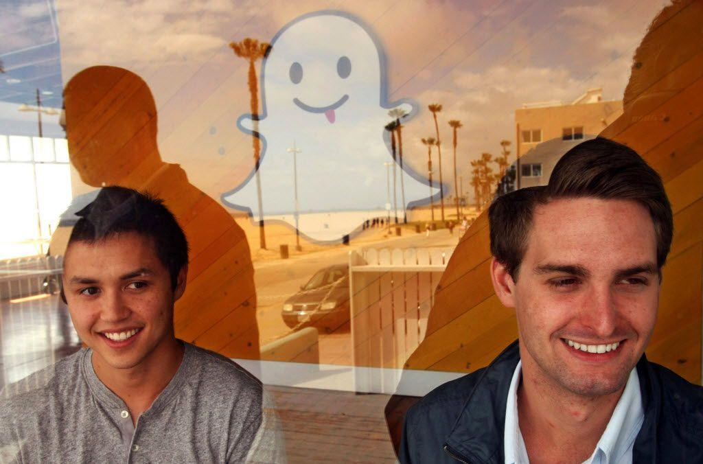 Bobby Murphy, 24, left, and Evan Spiegel, 22, co-creators of Snapchat.