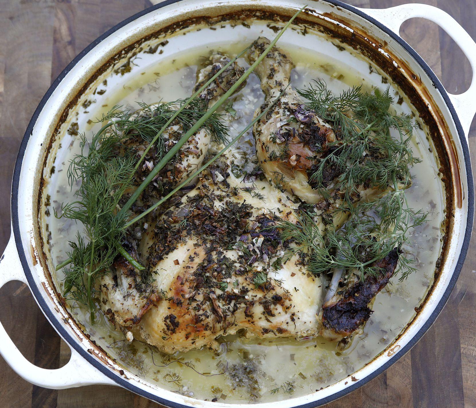 Buttermilk Braised Ranched Chicken with herb garnish