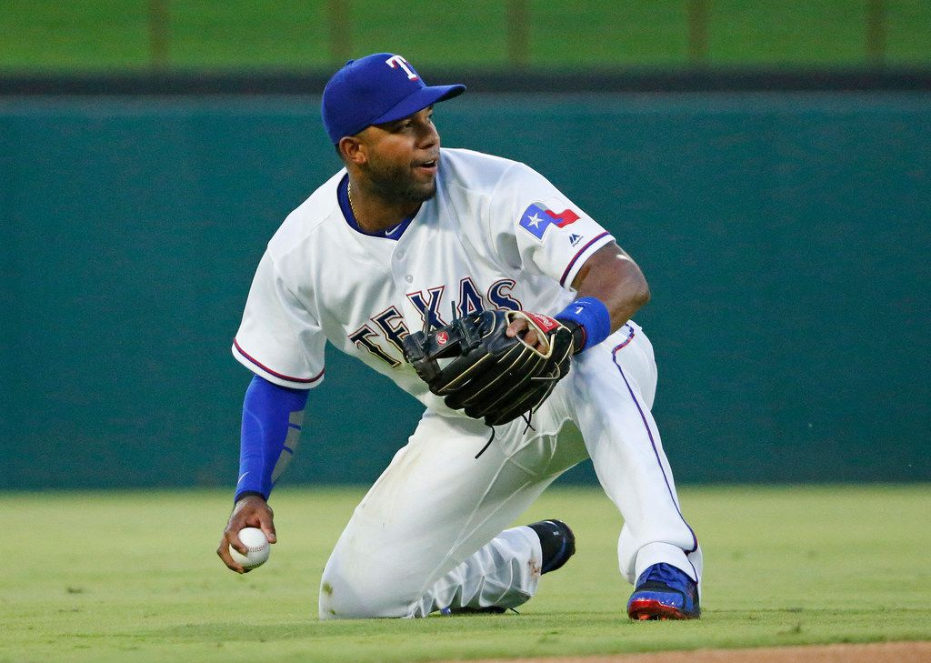 Texas Rangers shortstop Elvis Andrus (1) is pictured during the Chicago White Sox vs. the Texas Rangers major league baseball game at Globe Life Park in Arlington, Texas on Saturday, June 30, 2018.