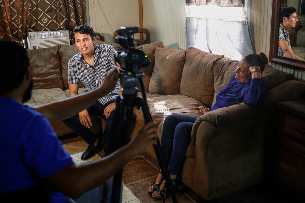 Seated in his family's living room, Francisco Galicia, a Dallas-born U.S. citizen who spent three weeks in the custody of U.S. Customs and Border Protection and Immigration and Customs Enforcement, participates in a media interview for a local television station on Friday, July 26, 2019 in Edinburg.