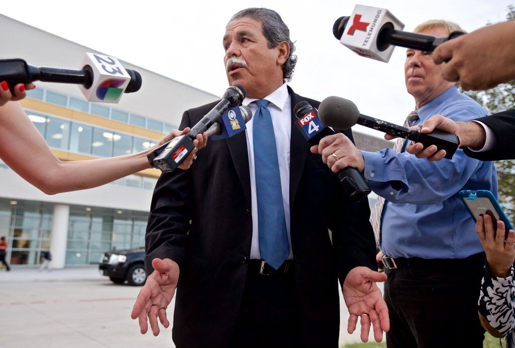 Dallas ISD Superintendent Michael Hinojosa speaks to the media before greeting students on the first day of school at Jose May Elementary School in Dallas, Monday, August 22, 2016. (Brandon Wade/Special Contributor)