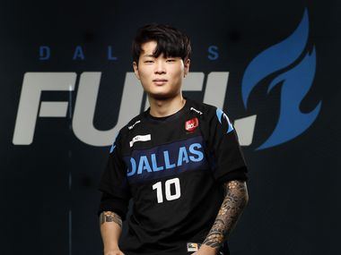 Dallas Fuel Overwatch League player Gihyo 'XZI' Jung poses for a photo at Envy Gaming Headquarters in Dallas, Monday, March 29, 2021. (Tom Fox/The Dallas Morning News)