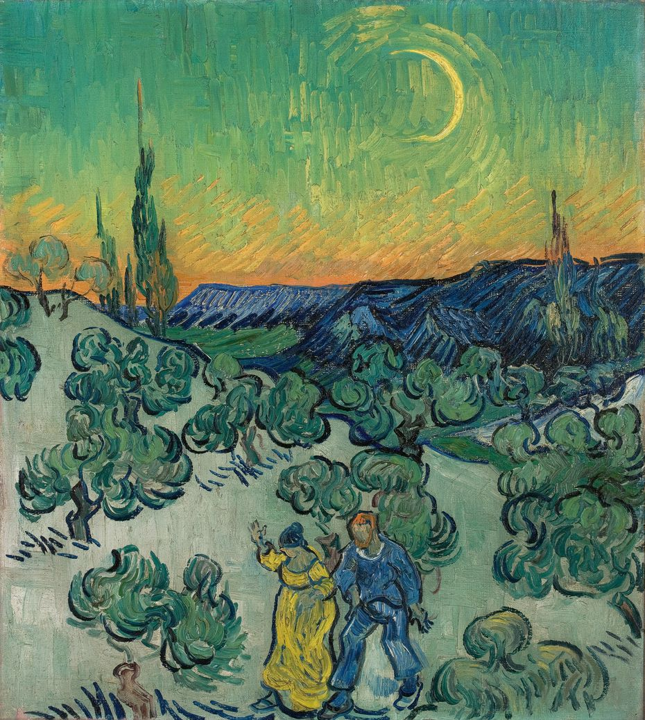 """Vincent van Gogh, """"A Walk at Twilight,"""" 1889-1890, oil on canvas, Collection Museu de Arte de Sao Paulo Assis Chateaubriand. Purchase, 1958. The work is part of the exhibit """"Van Gogh and the Olive Groves,"""" on view at the Dallas Museum of Art from Oct. 17, 2021, through Feb. 6, 2022."""