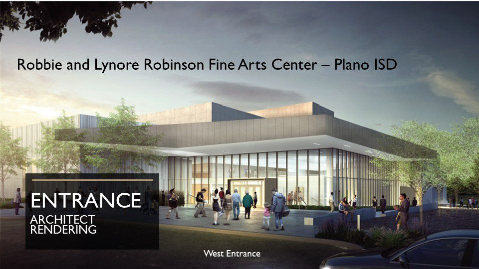 An artist's rendering of the Robbie and Lynore Robinson Fine Arts Center in Plano ISD.